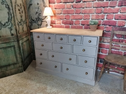 Charleston grey painted and distressed 13 drawer chest