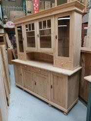 Large Antique pine glazed dresser