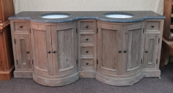 Double bowl vanity unit in reclaimed pine and slate top
