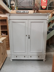 French Grey painted distressed dutch wardrobe SOLD