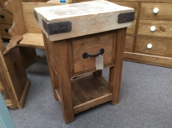 Butchers Block with single drawer and old wood waxed base