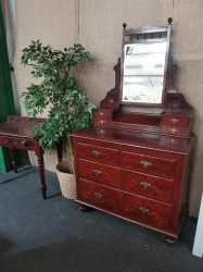 Original pine painted mahogany chest 2/2 layout with mirror RARE