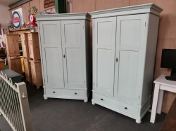 Matching Pair of painted antique dutch wardrobes