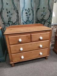 2/2 Victorian pine chest with white porcelain handles