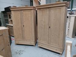 RARE Pair of matching antique pine wardrobes