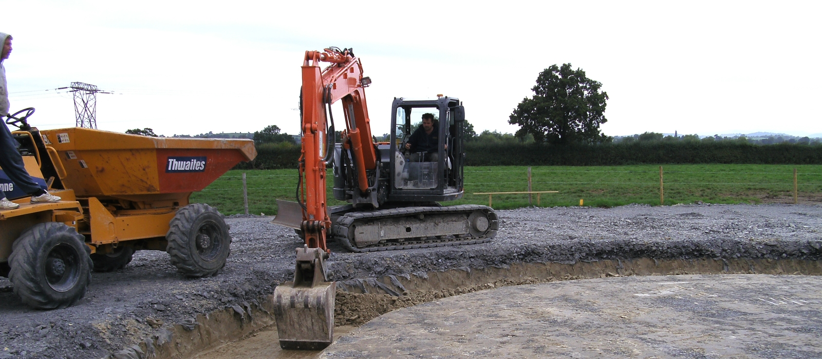 A Modern Excavator Digging up Dirt