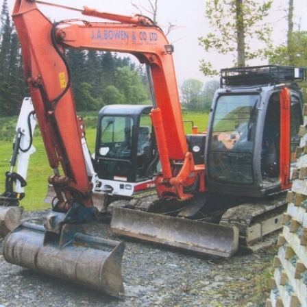 A Modern Excavator Side by Side with a Mini Excavator
