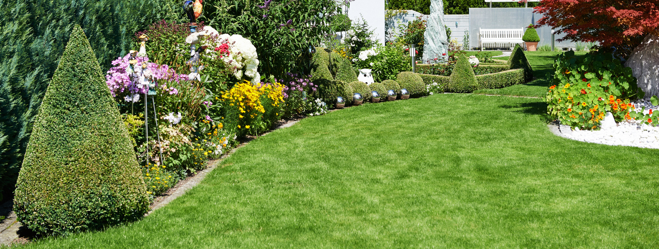 Well maintained garden with pruned bushes and cut grass