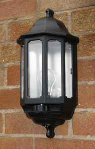 Security light fitted on wall