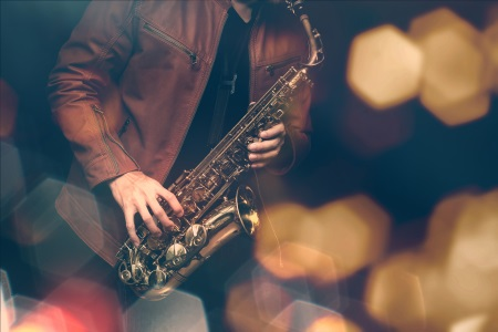 Student playing the saxophone