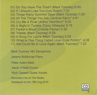 The Mark Toomey Quartet vinyl back cover