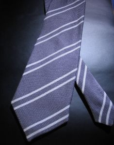 Formal wear, navy coloured striped tie