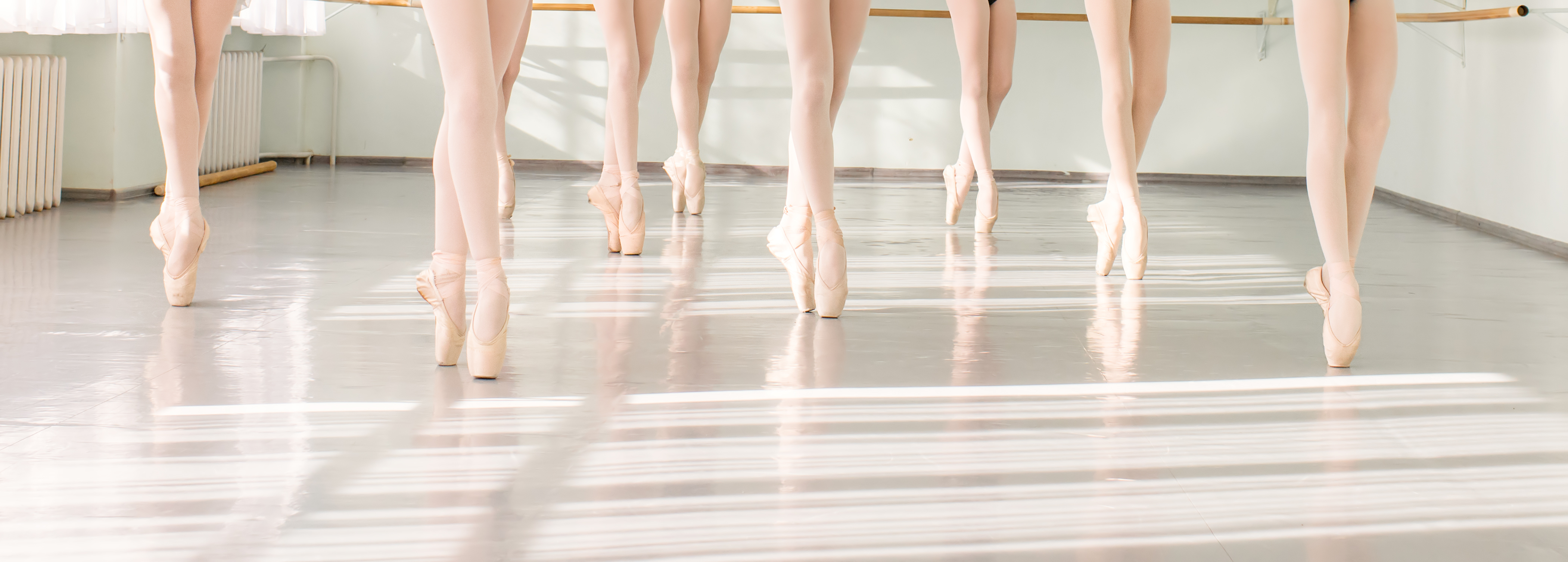Row of ballerinas in pointe shoes