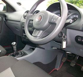 interior of car, steering wheel