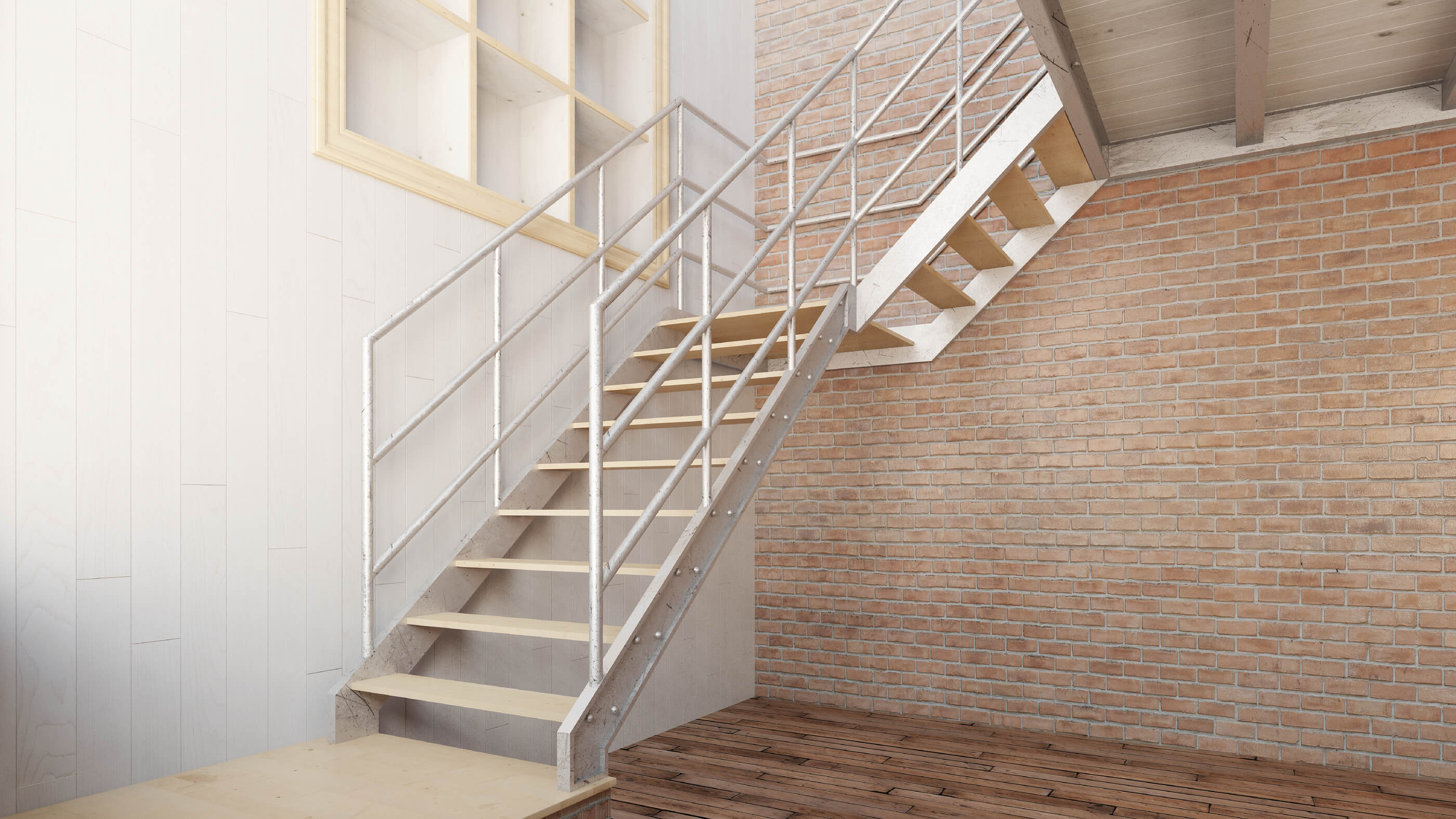 White welded steel corner staircase