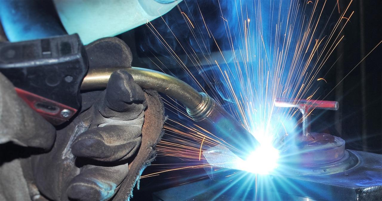 Close up of a welder welding