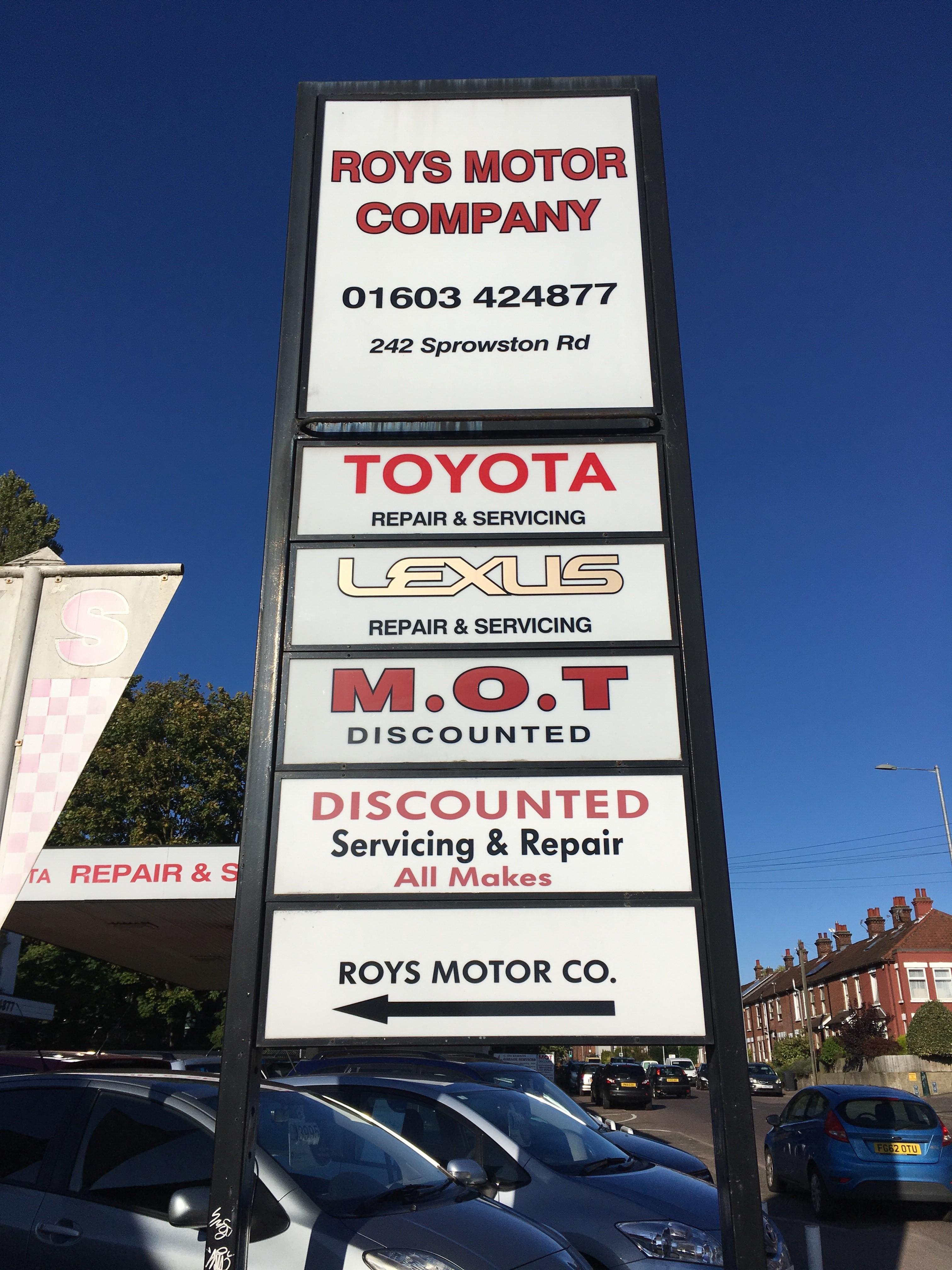 Roys Motor Company Sign