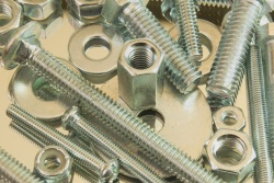 Silver nuts and screws