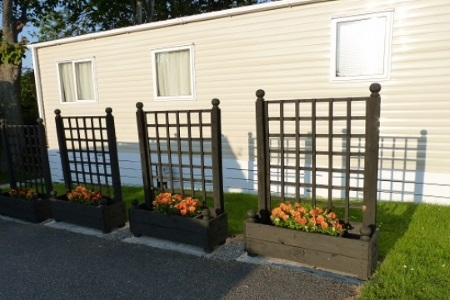 Flower beds outside holiday home