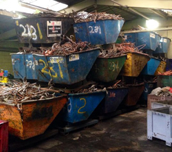 Skips filled with scrap metal