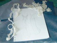 Initial sketch designing of dress