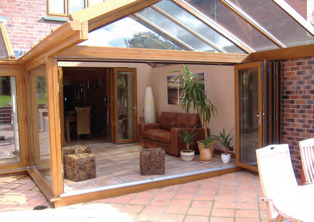 Bi folding doors with wooden frames
