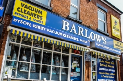 front of Barlows shop in Manchester