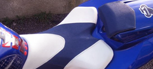 custom blue and white motorbike seat