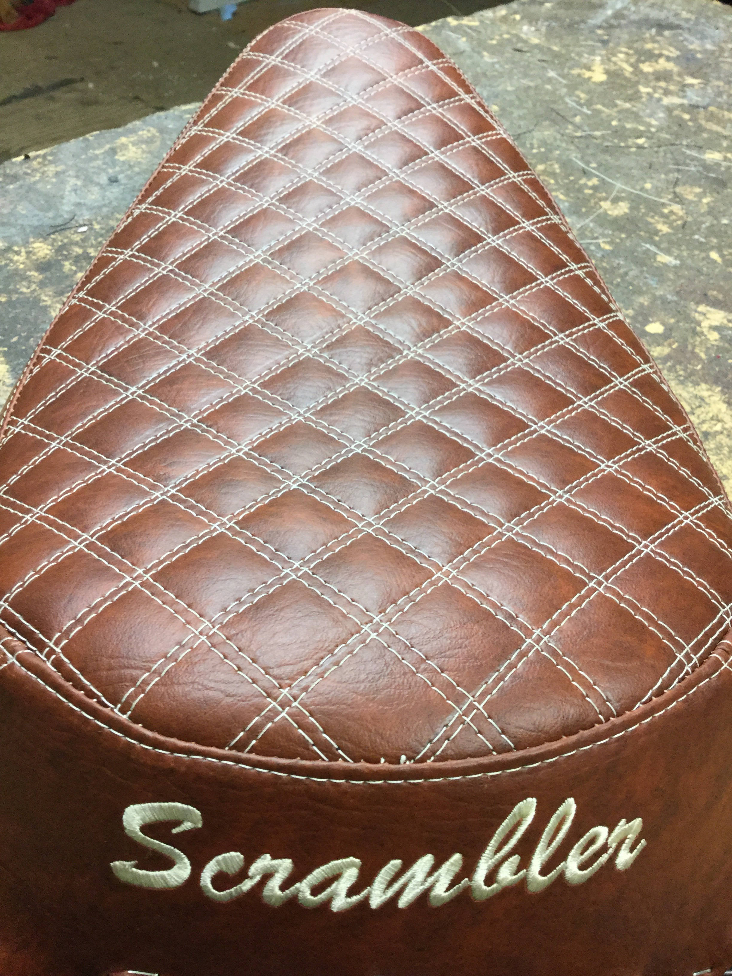 brown leather scrambler motorbike seat